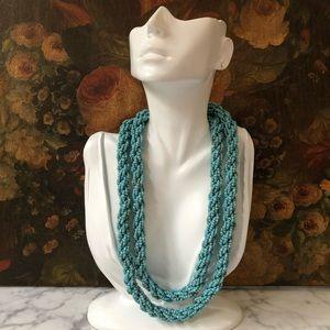 Vintage Turquoise Seed Bead Twist Necklace
